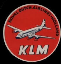 Airline luggage label KLM   rare  #406